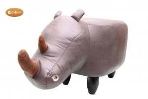 Gardeco Reggie The Grey Rhino Leatherette Footstool