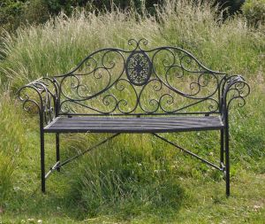 Rococo 3-Seater Metal Bench Umber Grey