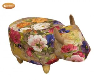 Gardeco Rosie The Flower Patterned Cow Fabric Footstool