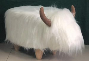 Gardeco Roxanna The White Highland Cow Synthetic Fur Footstool