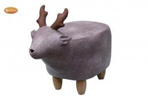Gardeco Rudy The Grey Reindeer Velvet Footstool