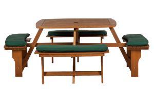 Royalcraft Sacramento 8-Seater Hardwood Picnic Bench Set with Cushions