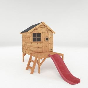 Snug Tower Wooden Playhouse with Slide 4x4