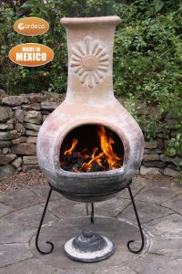 Gardeco Sol Extra Large Rustic Purple Natural Clay Mexican Chiminea
