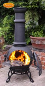 Gardeco Toledo Ex-Large Black Cast Iron Chiminea with BBQ Grill
