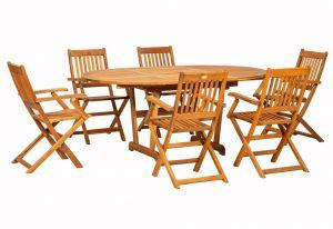 Royalcraft Turnbury Extension Table & 6 Manhattan Folding Armchairs