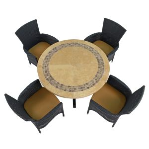 Vermont Dining Table with 4 Stockholm Black Chairs