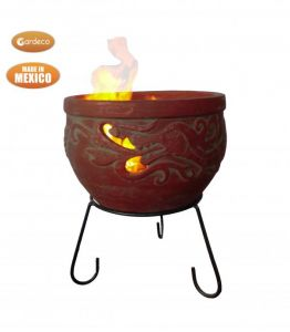 Gardeco Wynd The Dragon Celtic Clay Fire Bowl with Stand - Burgundy