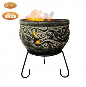 Gardeco Wynd The Dragon Celtic Clay Fire Bowl with Stand - Charcoal