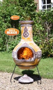 Gardeco Azteca Extra Large Mexican Clay Chiminea Yellow