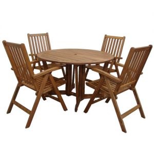 Royalcraft Henley 120cm Round Gateleg Table & 4 Manhattan Recliners