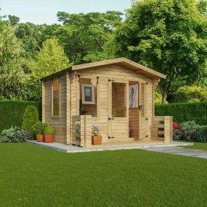 Mercia Studio Log Cabin with Veranda 3.3m x 3.4m