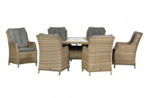Royalcraft Wentworth Rattan Ellipse 6 Seater Highback Comfort Dining Set