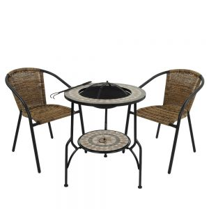 Brava Tall Firepit Table with 2 San Remo Chairs