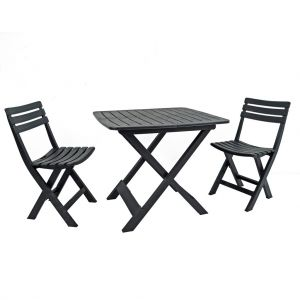 Brescia Anthracite Folding Table with 2 Brescia Chairs