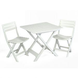 Brescia White Folding Table with 2 Brescia Chairs
