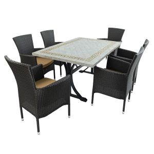 Burlington Dining Table with 6 Stockholm Black Chairs