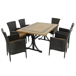 Charleston Dining Table with 6 Brown Stockholm Chairs