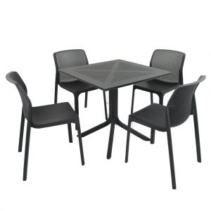 Clip Anthracite Dining Table with 4 Bit Chairs