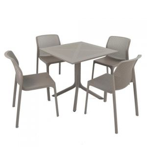 Clip Turtle Dove Dining Table with 4 Bit Chairs