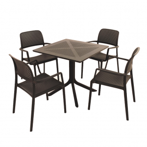 Clip Anthracite Dining Table with 4 Bora Chairs