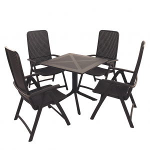 Clip Anthracite Dining Table with 4 Darsena Chairs