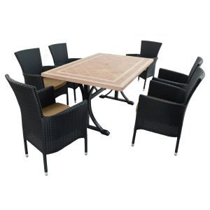 Hampton Dining Table with Stockholm black chairs