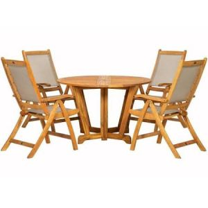 Royalcraft Henley 120cm Round Gateleg Table & 4 Henley Textilene Recliners