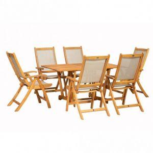Royalcraft Henley Rectangular Gateleg Table & 6 Henley Textilene Recliners