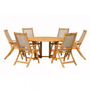 Royalcraft Henley 150cm Round Gateleg Table with Lazy Susan & 6 Henley Textilene Recliners