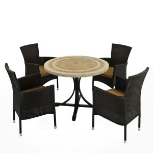 Langley Dining Table with 4 Black Stockholm Chairs