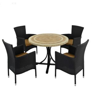 Langley Dining Table withj 4 Brown Stockholm Chairs