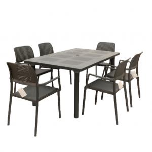 Libeccio Anthracite Table with 6 Bora Chairs