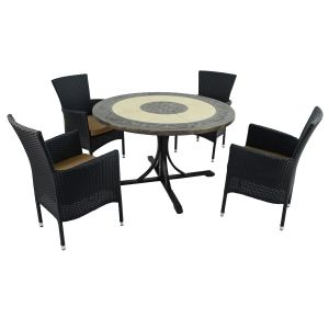 St Malo Dining Table with 4 Black Stockholm Chairs