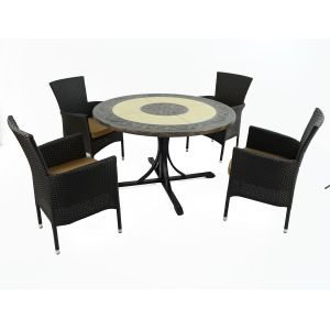 St Malo Dining Table with 4 Brown Stockholm Chairs