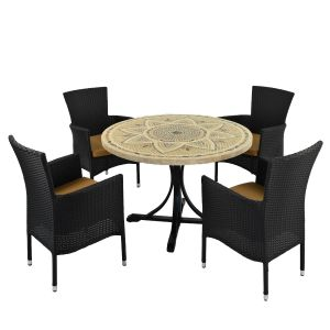 Montpellier Dining Table with 4 Black Stockholm Chairs