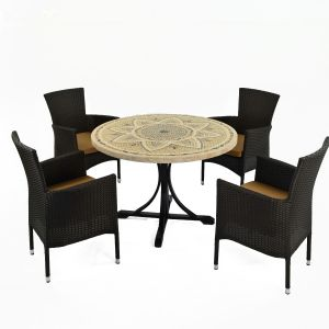 Montpellier Dining Table with 4 Brown Stockholm Chairs