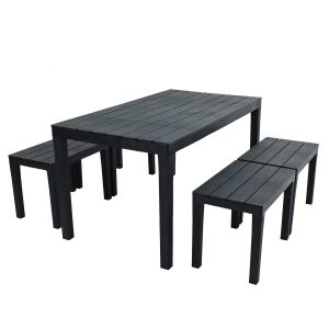 Roma Anthracite Dining Table with Roma benches