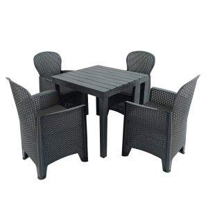 Roma Anthracite Square Dining Table with 4 Sicily Chairs