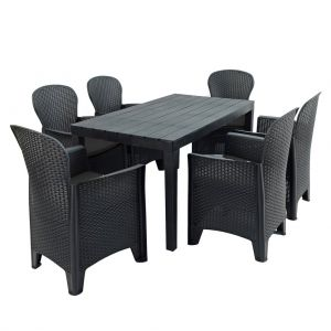 Roma Anthracite Dining Table with 6 Sicily Chairs