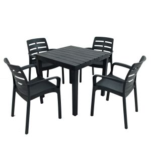 Roma Anthracite Square Dining Table with 4 Siena Chairs