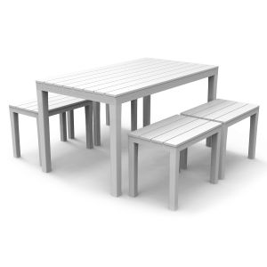 Roma White Dining Table with Roma benches
