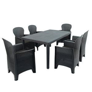 Salerno Anthracite Dining Table with 6 Sicily Chairs