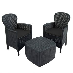 Sicily Anthracite Side Table with 2 Sicily Chairs