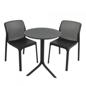 Step Anthracite Bistro Table with 2 Bit Chairs