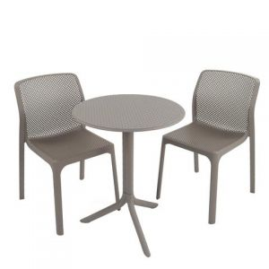 Step Turtle Grey Bistro Table with 2 Bit Chairs