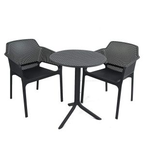 Step Anthracite Bistro Table with 2 Net Chairs