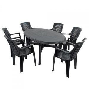 Teramo Anthracite 6-Seater Table with 6 Parma Chairs