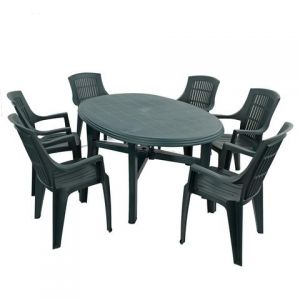 Teramo Green 6-Seater Table with 6 Parma Chairs
