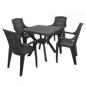Turin Anthracite Table with 4 Parma Chairs